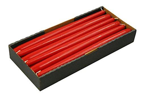Schlanke & Stabile Spitzkerzen - Rubin Rot - Länge 30cm/Ø 2,3cm - 12 Stück im Pack - Hohe Brenndauer (10 Stunden) & Einwandfreies Brennverhalten - Altarkerzen/Leuchterkerzen