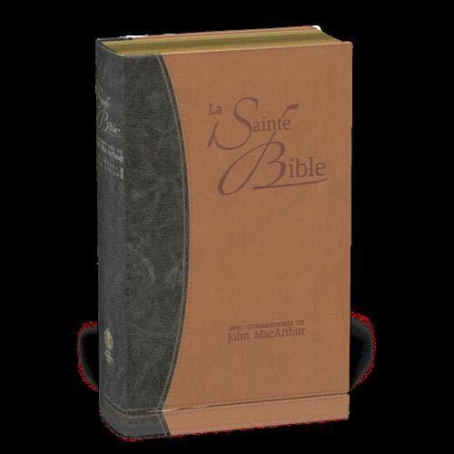 Bible NEG MacArthur : souple similicuir duo bleu et brun, tranches or