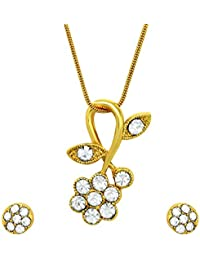 Mahi Crystal White Floral Gold Plated Pendant Set For Women NL4101114G
