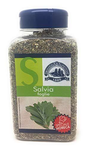 salvia in foglie essiccata - 135 g - aroma speziato e leggermente amaro per formaggi, funghi, carne di manzo e maiale - spezia vellutata e profumata - regina delle erbe aromatiche