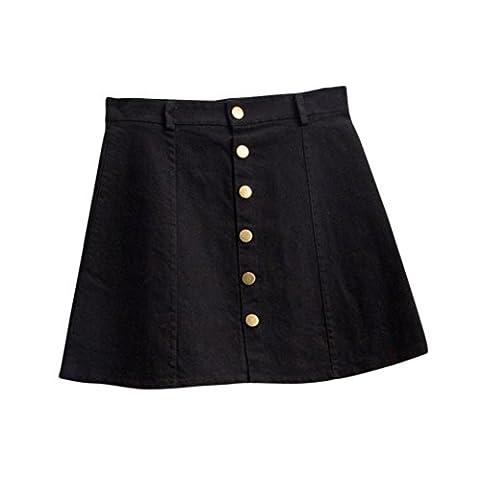 Women's Fashion Waist Skirt Korean Style Denim Skirt (m, black)