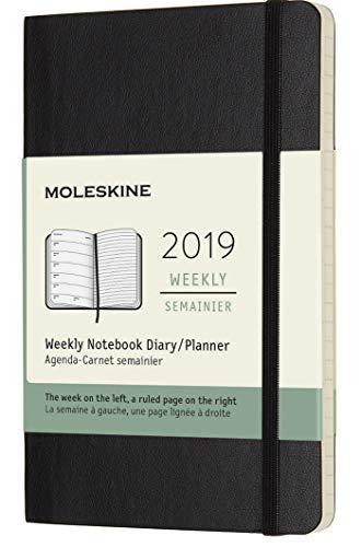 Moleskine 2019 agenda settimanale 12 mesi, con spazio per note, tascabile, copertina morbida, nero, 9x14 cm