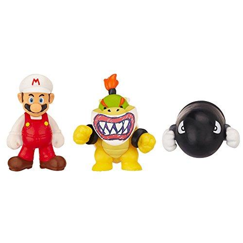 Preisvergleich Produktbild Nintendo JAKKNIN016FMBJBB - World of Micro Land 3 Figure Pack - Fire Mario, Bowser Jrund Bullet Bill