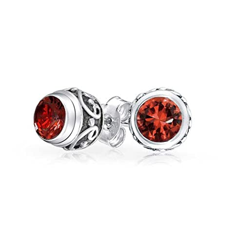 Antiqued Silver Simulated Garnet Bali Style Stud
