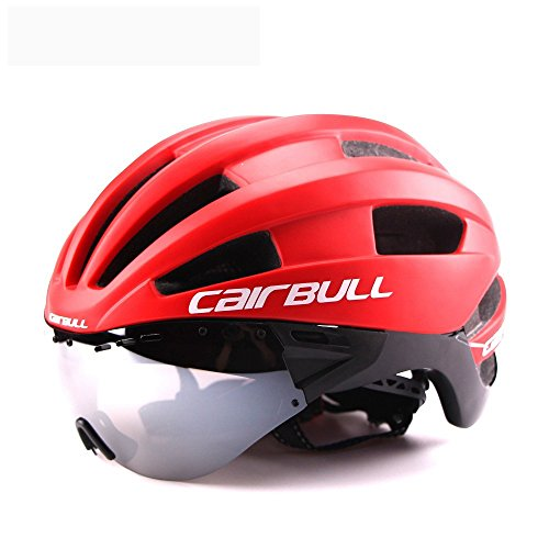 ZZY Fahrradhelme,Männer/Frauen Erwachsene Fahrradhelm Racing Zeitfahrhelm mit Brille Ultraleicht EPS + PC M L 54-62 cm Fahrrad Objektiv Helme, Red, L