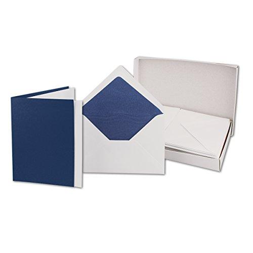 Faltkarten SET Nachtblau DIN B6 Briefumschlägen dunkelblau gefüttert | 25 Sets | inkl faltbaren Einlegern | in stabiler Karton-Box | ideal für Weihnachts-Karten und Einladungen | Serie FarbenFroh