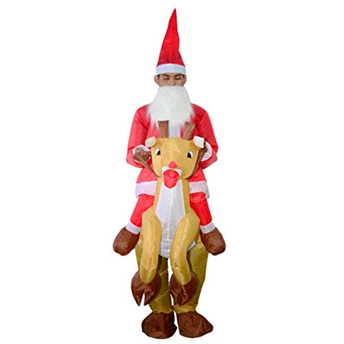 Aufblasbarer Weihnachtsmann Kostüm - JEELINBORE Aufblasbares Weihnachtsmann Kostüm für Erwachsene - Cosplay Halloween Karneval Novelty Fancy Dress Weihnachtskostüm (Weihnachtsmann, Eine Größe)