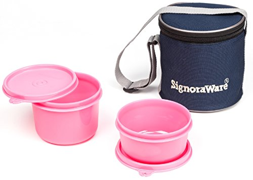 Signoraware Executive Small Lunch Box with Bag, 15cm, Pink
