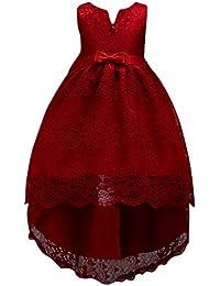 048042dee GUOCU Niña Vestido Sin Mangas Cuello Redondo Color Sólido Bordado Falda de  La Princesa Dama de Honor de Fiesta Niña de Las Flores…