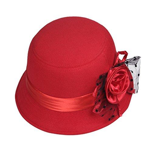 Smile YKK Chapeau Melon Femme Laine Voyage Soirée Fleur Classique Rétro Rouge