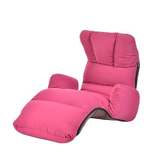 JiuErDP Faule Couch Einzelne Faltbare Moderne minimalistische Wohnzimmer Schlafzimmer Balkon Bucht Fenster Stuhl Lounge Sessel (Farbe : Rose rot) - Rote Moderne Lounge-stühle