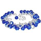 Fashion Dunkelblau Glas Beads Cluster Kreis Charm Armband - Dunkelblau