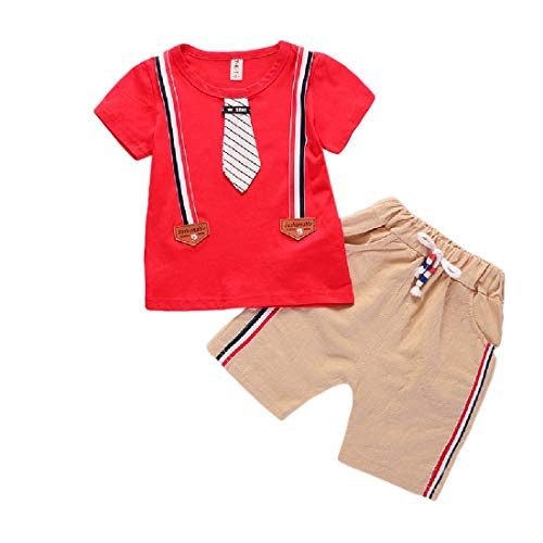 CuteRose Toddlers Children Boys 2-Piece Summer Comfort Shirt and Shorts Red 100