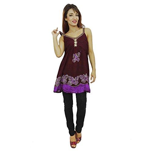 Débardeur Vêtements D'Été Batik Rayonne Top Pour Les Femmes Brun