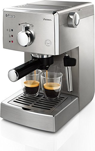 Saeco Poemia Inox HD8427/11 - Máquina de café espresso manual para café molido y monodosis E.S.E., 950 W, color plateado