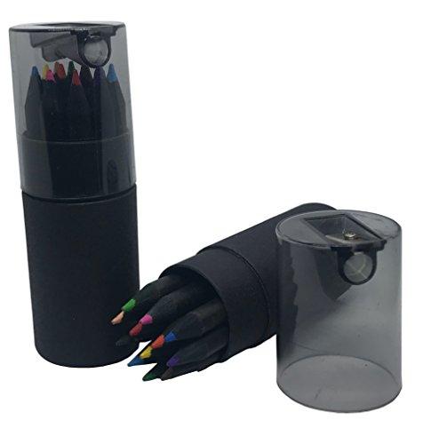 Duc De qualité premium Lot de crayons de coloriage, 12 crayons de bois Noir de différentes couleurs, comprend Taille-crayon dans le couvercle et trousse. Idéal pour des livres de coloriage pour adulte et idéal pour les enfants