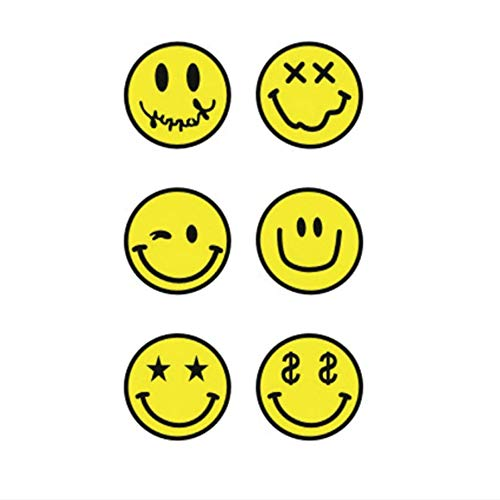ruofengpuzi Erwachsener Heißer Wasserdichter Temporärer Tätowierungs-Aufkleber-Kinderkörperkunst-Gelber Smiley-Gesichts-Emoji-Mann-Frauen-Gefälschter Tätowierungs-Aufkleber