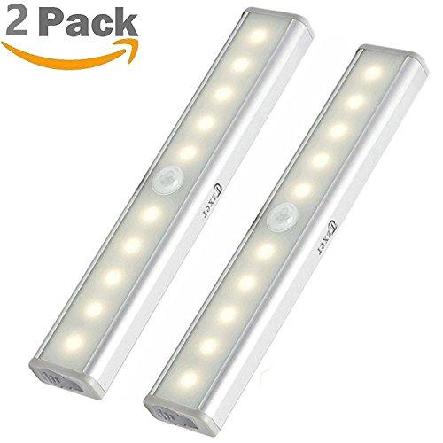 【2018 Upgrade Version】Làmpara del Armario, Barra de Luz con Sensor de Movimiento 10 LEDs Lámpara LED Nocturna para Armario/Cajón/Camino, paquete de 2 (blanco cálido)