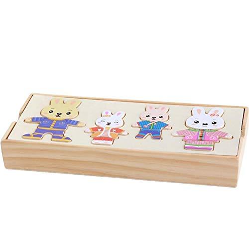 aninchen die Kleidung zu wechseln frühe Bildung Spielzeug 1 set1 Set aus Holz Familie Dress-Up Puzzles Nette EIN Puzzle ()