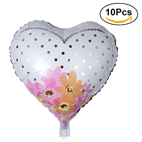 NUOLUX 10pcs 18 'Globos de papel de aluminio de la forma del corazón para el apoyo decorativo de la foto de la fiesta de cumpleaños de la boda