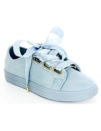 Ideal Shoes - Baskets effet daim avec lacets ruban Miana