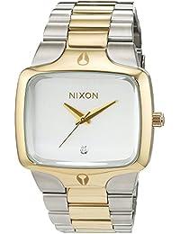 Nixon Herren-Armbanduhr Player Silver Light Gold Analog Quarz Edelstahl A1401431-00