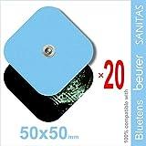 TENSPAD SILVER 20 Elektroden 50x50mm für VITALCONTROL, SANITAS, Beurer, BLUETENS, mit 1 3,5mm Schnappverbinder
