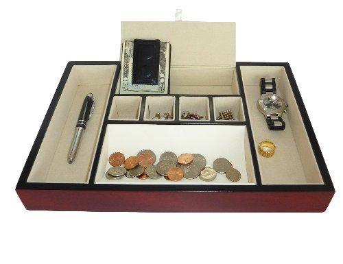Valet Cherry (Cherry Holz Palisander Valet Tablett Schreibtisch Kommode Schubladen Medaille Fall allumfassendes für Schlüssel, Handy, Schmuck, Uhren, und Zubehör)