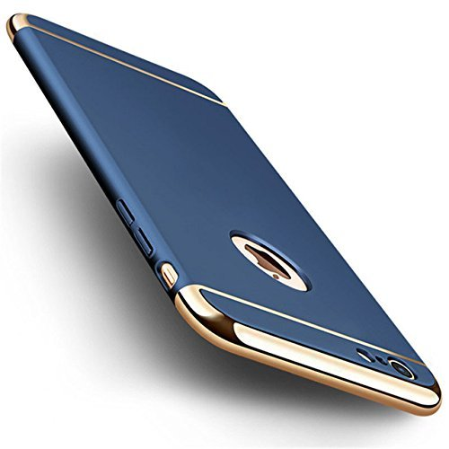 BIGZOOK Ultra-thin 3in1 Electroplate Metal Texture Plastic Hard Back Case Cover Tempered Glass Screen Protector for Apple iphone 5/5S (Nevy Blue with Gold)  available at amazon for Rs.449