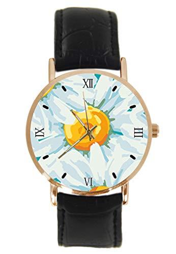 Gänseblümchen-Armbanduhr Fashion Klassisch Unisex Analog Quarz Edelstahl Gehäuse Lederarmband Uhren