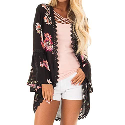 MRULIC Damen Florale Kimono Cardigan Boho Chiffon Sommerkleid Beach Cover up Leicht Tuch für die Sommermonate am Strand oder See (2XL, Y-Schwarz)