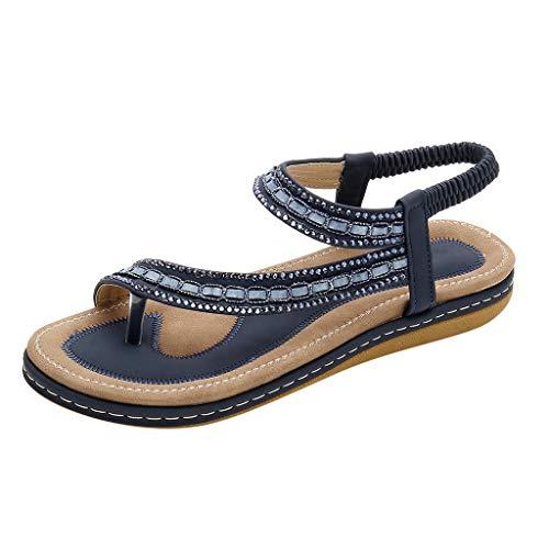 r Sandalen Bohemian Strass Flach Sandaletten Sommer Strand Schuhe Glitter Bequem und stilvoll qualitativ hochwertige Offener Zeh ()