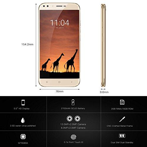 OUKITEL U22 - 3G Smartphone Libre ( Pantalla 5,5 pulgadas HD IPS, Android 7.0 con 4 cámaras: 13MP + 2MP traseras, 8MP + 2MP delanteras, 2GB RAM + 16GB ROM, lector de huellas dactilares rápido, dual sim), Oro