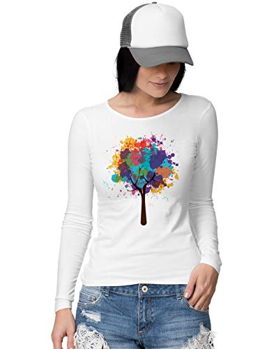 BLAK TEE Damen Abstract Splatter Tree Langarmshirt M -