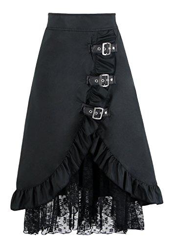 Falda victoriana con hebillas negra