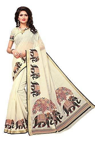 Indira Designer Art Silk Saree with Blouse Piece (ANIMAL-ELEPHANT_Off White_Free Size)