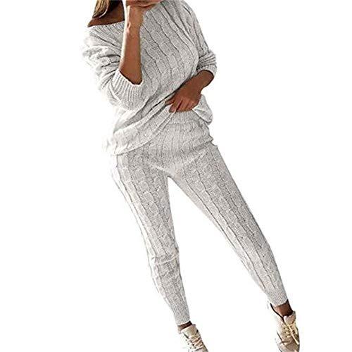Juleya Frauen Stricken Zweiteilige Sweatsuit U-Ausschnitt Sweatshirt Trainingsanzug Schulterfrei Oversize Pullover Top Lounge Wear Jumper Set schlanke Lange Hosen Set - Stricken Lounge-set