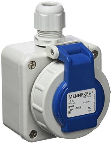 Preisvergleich Produktbild Mennekes AM 10863 Wandsteckdose SCHUKO 16A 230V IP68 Bajonettdeckel blau anscharniert Schraubkontakt