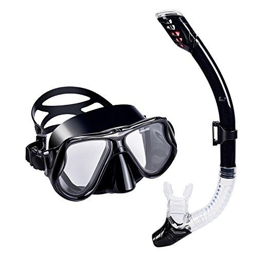Maschera Snorkeling Set Adulto - UPhitnis Anti-Nebbia Set Maschera Subacquea, Anti-Leak Set da Snorkeling con Boccaglio Dry - Set per Snorkeling per Uomo, Donne