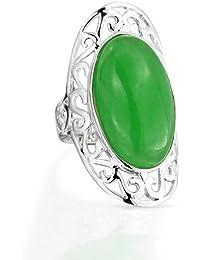 Bling Jewelry Piedra precioa Plata Esterlina Filigrana Oval Deplazamiento Anillo Jade Verde Armadura