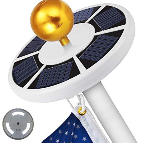 4rd Generation Solar Power Flag Pole Fahnenmast Licht, verbesserte 42 LED-Design, zwei Beleuchtungsmodi, verbesserte Solarbatterien Panels, wasserdichter Schutz, Selbstaufladung Auto Active,White