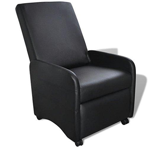 Vislone poltrona relax da tv pieghevole reclinabile con poggiapiedi in pelle artificiale crema/nera per soggiorno,salotto e ufficio