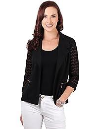 KRISP Chaqueta Mujer Primavera Fiesta Blanca Negra Entretiempo Entallada Blazer Vestir Encaje