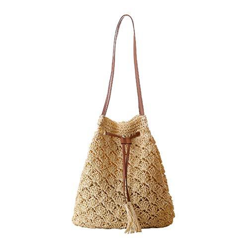 Hosaire 1x Mode Handgefertigte Umhängetasche Damen Straw Woven Strandtasche Tragetasche Shoulder Messenger Satchel Hellgelb -