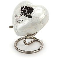Urns UK corazón Recuerdo Crewe cremacion Cenizas urna de Metal, latón, Perla, 12x 7,5x 12cm