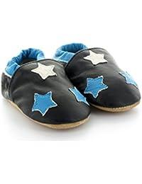 Chaussons Bébé en Cuir Souple Étoile Bleu