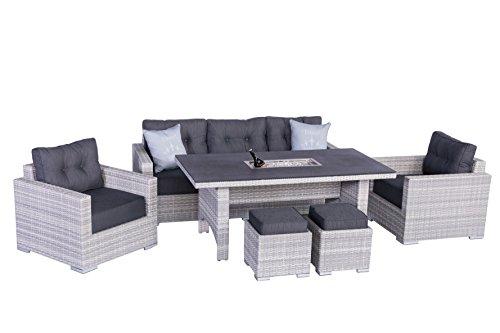 """Hohe Dinning Poly Rattan Lounge \""""Sardino ICE\"""", mit praktischem Einsatz für z.B. Eis zum kühlen oder frische Kräuter, Markenqualität von Mandalika Garden"""