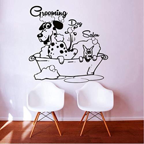 Applique Kunst (Aizaixinli Pet Shop Hund Bad Hund Schönheit Vinyl Wand Applique Wand Kunst Wandaufkleber Haustier Haustier Krankenhaus Wanddekoration 120 * 120 Cm)