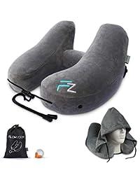 Nackenkissen aufblasbar von FLOWZOOM® | Aufblasbares Nackankissen Nackenhörnchen Reise-Kissen Flugzeug Langstreckenflug