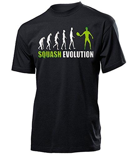 Squash Evolution 534 Sport Shirt Tshirt Fanartikel Fanshirt Männer turniershirt Shop Sportbekleidung Herren T-Shirts Schwarz Aufdruck Grün XXL